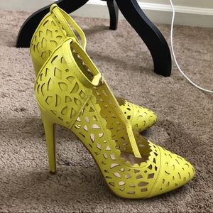 Yellow Cutout Heels